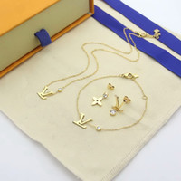 Wholesale gold plated necklace set for sale - Group buy Europe America Fashion Style Jewelry Sets Lady Women Single Diamond V Initials Charm Necklace Bracelet Stud Earrings Sets