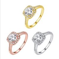 14k gold ring gelben stein großhandel-Luxus Stein Vergoldet Ring Frauen Mädchen Elegante Rose Golden Yellow Gold Kristall Hochzeit Geschenk Schmuck Fingerringe