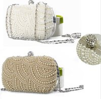 ingrosso perla frizione rhinestone perline-2020 New Crystal Evening Clutch Bag Donna Pearl Beaded Handbag Ladies Wedding Purse Party Strass Pearl Wallet Nuovo