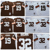 8bae22819 Cleveland Vintage 19 Bernie Kosar Jerseys Browns Man White Away Football 32  Jim Brown Jersey Breathable For Sport Fans High Quality