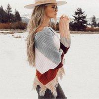 camisola longa camisola rasga venda por atacado-Mulheres camisola do arco-íris rasgado decote em v Pullover e camisola manga comprida listrada malha de outono