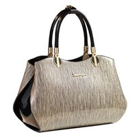 Womens High Range Bright Patent Leather Crocodile Grain Handbag Shoulder Bag