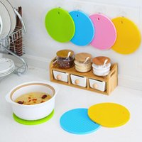 Wholesale silicone pot holders resale online - 18cm Round Heat Resistant Silicone Mat Drink Cup Coasters Non slip Pot Holder Table Placemat Kitchen Accessories DLH161
