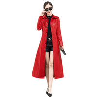 жакет с коричневым цветом оптовых-женская зимняя кожаная куртка PU Красный твердая кнопка кожа ярус зима женщины пальто улица офис теплый элегантный Леди пиджаки