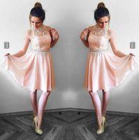 ingrosso vestiti da cocktail rosa halter in pizzo-Bella Blush Pink Abiti Homecoming 2019 Una linea Halter Neck Lace Top in chiffon Mini breve vestito da cocktail Abiti del partito Vestito da laurea