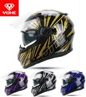 tam kask toptan satış-Fantom renk ile ABS / PC lens yapılmış 2017 Yaz Yeni YOHE Tam Yüz Motosiklet kask YH-970 çift len motosiklet kaskları