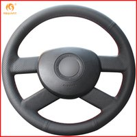Wholesale vw car parts for sale - Group buy MEWANT for VW Polo Black Artificial Leather Car Steering Wheel Covers Interior Accessories Parts