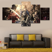 Wholesale piece lily painting for sale - Group buy 5 Pieces Anime Fate Stay Night Saber Lily Warrior Canvas Paintings Wall Art Pictures for The Livingroom Home Decoration No Frame
