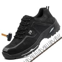 luces de seguridad al por mayor-Hombres primavera verano luz desodorante transpirable zapatos de trabajo de seguridad Zapatos con puntera de acero gorra protectora indestructible