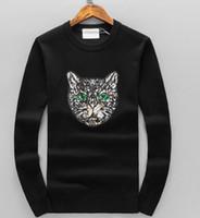 с длинными рукавами оптовых-Осень зима свитер с длинными рукавами вязаная кошачья голова с пайетками шею свитер роскошный дизайнер кофты топ высококачественный вязаный свитер