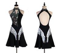 saias latinas pretas venda por atacado-Latin Dance Competition Skirt Women Professional Preto Sexy Samba Latina Saia Dança Adulto de alta qualidade vestido de Dança