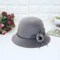 fieltro sombreros de cubo al por mayor-Felt Crushable interior de las mujeres Sombrero Panamá boda Ascot Sombrero Gorra Bucket Hombres Gorra Sombrero Mujer Hombre