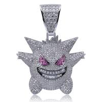 ingrosso branelli di diamanti attraversano-La collana piena del pendente di Gengar del Rhinestone ha decorato i gioielli di Hip Hop Bling Bling fuori con la catena 24 pollici libera per il regalo degli uomini