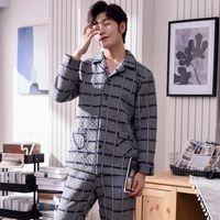uzun kollu pijamalar yeni gelenler toptan satış-Yeni varış kalınlaşmak hava pamuk erkek pijama uzun kollu pantolon erkekler için pijama peluş alt kıyafeti takım ev erkekler pijama
