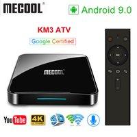 телешоу google оптовых-2019 Сертифицированный Google Mecool KM3 ATV Голосовой ввод 4G 64G Android 9.0 TV Box Amlogic S905X2 Dual WIFI BT4.1 Smart TV