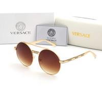Wholesale sunglasses nice resale online - Original box New brand designer sunglasses for women and men metal round frame eyewear nice quality driving goggle sun glasses