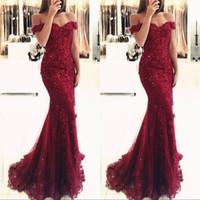Wholesale burgundy prom dresses for sale - Group buy Burgundy Lace Mermaid Appliques Off Shoulder Prom Dresses Vestido De Festa Beaded Sequins Long Evening Gowns
