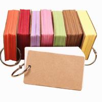 mini kağıt belgesi toptan satış-Çok Renkli Boş Sayfa Boş Kraft Kağıt 100 Sayfa Notepad Kelime Çalışması Kart Taşınabilir Memo Pad Serbest Yaprak Notları DIY Not Defteri