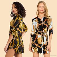 neue kleidhemden entwürfe großhandel-Frühling Herbst Neue Designer Shirt Kleid Frauen Weibliches Beiläufiges Hemd Kette Design Gedruckt Minikleider