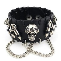 Wholesale chain united jewelry resale online - Europe and the United States to restore ancient ways punk jewelry leather bracelet with bullets skull chain bracelet