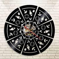 relógios italianos venda por atacado-Pizza Parlor Pizzaria Restaurante Italiano Café Personalizado Relógio de Parede Item Pizza Fatia Tempo Cozinha Levou Lâmpada Decoração Presente
