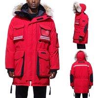 moda parka de nieve al por mayor-Hombre de la moda del diseñador del invierno nieve cubren con marca de Down Parkas acanalado manga larga con capucha MANTRA Outerwears Cortavientos con pieles Canadá
