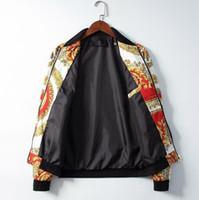 jaqueta de metal com zíper venda por atacado-2019 mens designer jaqueta de luxo paris medusa cadeia de flores cor tigre impressão de metal com zíper roupas gola manga comprida homens mulheres v68