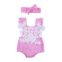 kızlar için pembe dantel şortu toptan satış-Yeni Yaz Moda Güzel Sevimli Bebek Bebek Kız Dantel Pembe Pamuk Kısa Kollu Çiçek Tulum Bodysuit Kafa Kıyafetleri Set