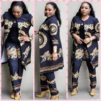abrigo de mujer pantalones al por mayor-2 Unids Abrigo + pantalones Traje Tradicional Africano Femenino Traje Dashiki Bazin Riche Bordado Estampado de Mujer Ropa de Fiesta Desgaste