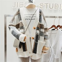 Wholesale cute women color wool coats for sale - Group buy Cbafu Autumn Winter Plaid Knitted Cardigan Women Sweater Single Button Chic Cute Bf Knitting Coats Basic Jumper Jackets N795MX190820