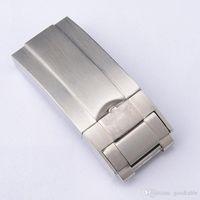 silber armband schnalle verschluss großhandel-Silber poliert SS WatchBand 16mm New Men Strap Buckle Armband Faltschließe