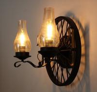 amerikan vintage oturma odası toptan satış-Amerikan Vintage Duvar Lambaları Gazyağı Lambası 2 Kafaları E27 Edison LED Kapalı Duvar Işık Ev Oturma Odası Restoran Aydınlatma için LLFA