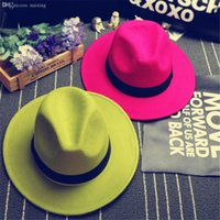 Wholesale vintage fedora men black resale online - Fashionable New Vintage Women Mens Fedora Felt Hat Ladies Floppy Wide Brim Wool Felt Fedora Cloche Hat Chapeu Fedora A0451