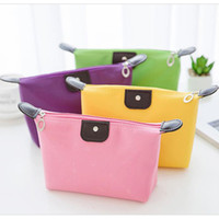 Wholesale small college bags resale online - Old Cobbler College girl cosmetic bag Nylon cloth Color wash bags Stylish Zipper small bag free delivery