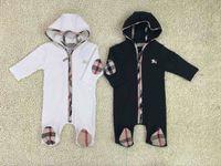 baby-baumwoll-kapuzenpulli großhandel-B mit kapuze kleidung neugeborenen overall anzug baby mädchen kleidung hoodie strampler baumwolle baby kleidung outfits set neu