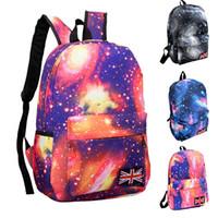 tuval desenli okul sırt çantası toptan satış-Sıcak Satış Galaxy Desen Unisex Seyahat Sırt Çantası Tuval Boş Çantalar Tuval Okul Çantası Yüksek Kalite