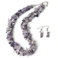 сиреневые огни оптовых-Lilac color add Light white and Black 5-8 MM Shape granules Necklace and Small Beautiful Earrings Jewelry Set