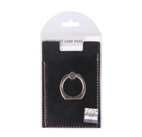 Wholesale phone back stickers resale online - PU Leather Cell Phone Wallet Pocket Pouch Card Holder With Ring Stand for Mobile Devices Adhesive Sticker Back With Retail Packaging