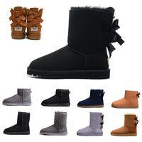 botines de bowknot al por mayor-UGG boots Botas de mujer de diseñador de lujo WGG negras Castaño alto clásico Bailey Bowknot cuero tobillo de nieve de invierno para mujer Botas australianas de media rodilla 36-41