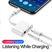 iphone için ses jakı toptan satış-2in1 Adaptörü 3.5mm Aux Jack Kulaklık Kulaklık Ses Splitter Beyaz Kablo Şarj Müzik Için Perakende Paketi Ile iphone 8 XS Max XR