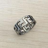 döner zincir toptan satış-Moda Erkekler Için Spinner Zincir Yunan anahtarlık Gümüş Paslanmaz Çelik Toptan Erkek Takı