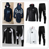 Wholesale men s hoodie tracksuit resale online - 2019 PSG tracksuit soccer jacket psg hoodie MBAPPE CAVANI DANI ALVES Champions League Paris Football jacket training Sweatshirt