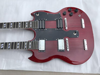 Wholesale double necks guitars for sale - Group buy Custom Jimmy Page strings Double Neck Led Zeppeli Page Wine Red SG Electric Guitar Different Pickups Special Tailpiece