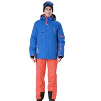 jaqueta de esqui amarelo venda por atacado-Phibee Homens Terno de Esqui Azul Jaqueta de Esqui Combinado Amarelo Laranja Calças Vermelhas À Prova de Vento À Prova D 'Água-30 Graus Frete Grátis 8024