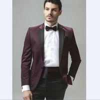 одежда для жениха оптовых-Bespoke Groomsmen Notch Lapel One Button Groom Tuxedos Bridegroom Evening Business Clothing Suits For Man (Jacket+Pants)