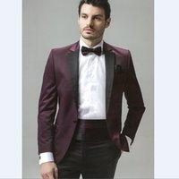 vêtements de marié achat en gros de-Personnalisé Groomsmen Notch Revel Un Bouton Marié Tuxedos Marié Soirée Vêtements De Vêtement Costumes Pour Homme (Veste + Pantalon)