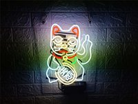ingrosso stella luci pollice-New Star Neon Sign Factory 17X14 pollici Real Glass Glass Sign Light per Beer Bar Pub Garage Room Lucky Cat.