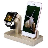 apfel wiege ladung großhandel-Mode Neue Stil Schnellladestation für iPhone und Uhr 2 in 1 Cradle Holder Stand für Smartphone und Apple Watch