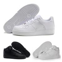 strickdesigner großhandel-2018 Nike Air Force 1 Leather AF1 Neueste hohe Qualität gezwungen Männer niedrige Schuhe Mesh Atmungsaktiv ein Unisex 1 stricken Euro Herren Damen Designer Schuhe Basketba
