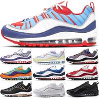football américain achat en gros de-Nike Air Max 98 Designer 98 Chaussures de course pour hommes Cone Gundam Triple Noir Blanc UK Racer Bleu Rouge Run Casual Sport Trainer Sneaker Taille 40-46